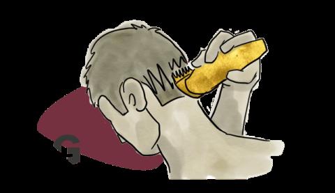 cómo cortar la parte posterior de los hombres de la cabeza